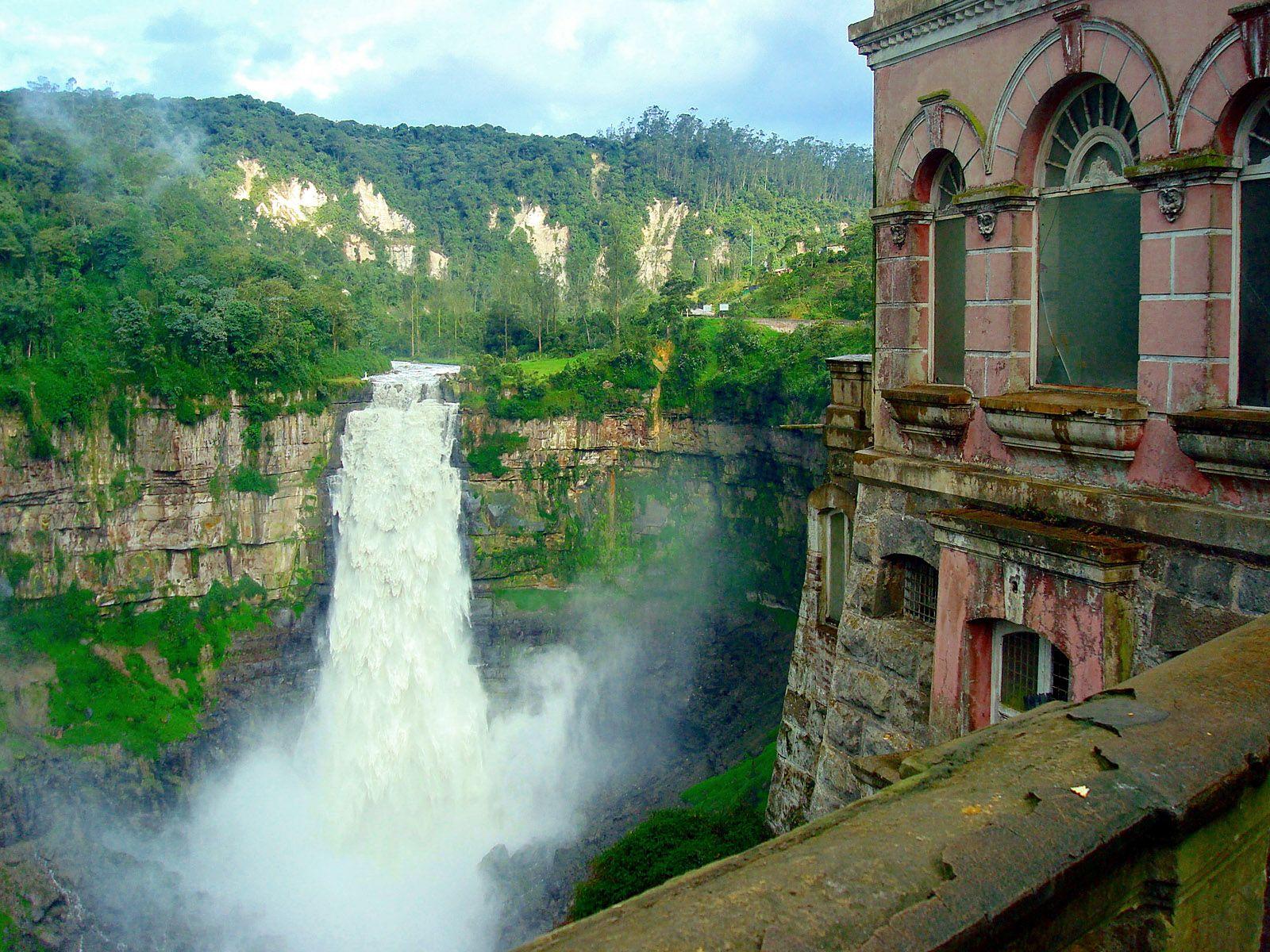 Обзор с отеля на водопад Текендама