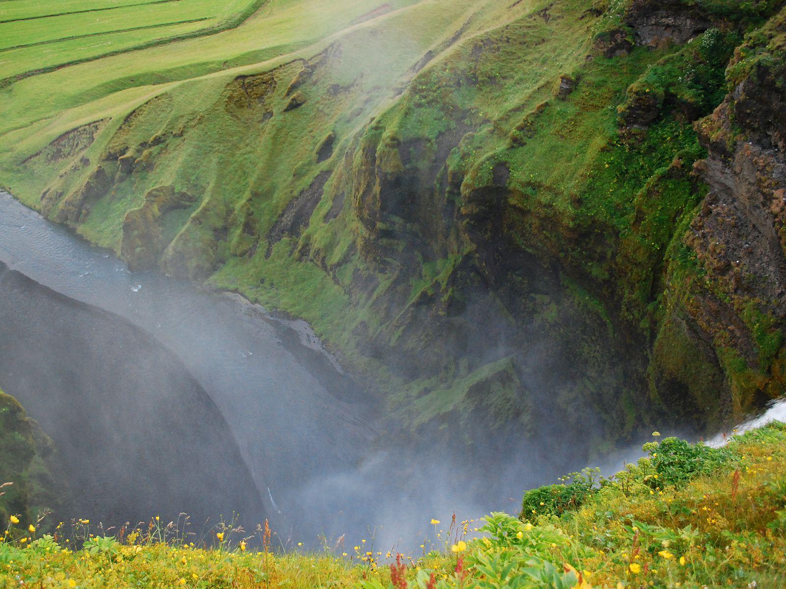Водопад Скогафосс сверху